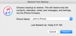 Restore iTunes backup to restore deleted Notes iPhone
