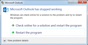 Microsoft Outlook has stopped working