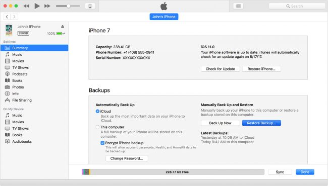 Restore iTunes backup to restore-lost accidentally deleted Notes iPhone