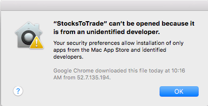 third Party app Can't be opened because it is from an unidentified developer