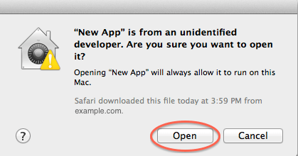 Allow Application from unidentified developer temporarily